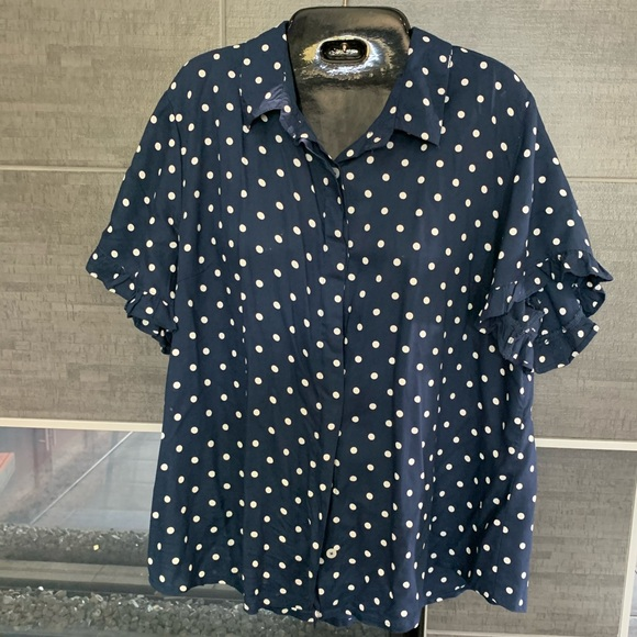 Willow & Root Tops - Navy Polka dot shirt